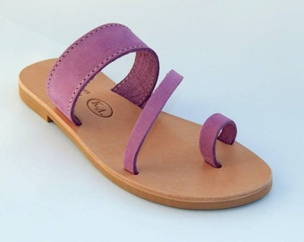 Greek Leather Sandals (40 - Purple)