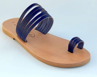 Greek Leather sandals (39 - Black)