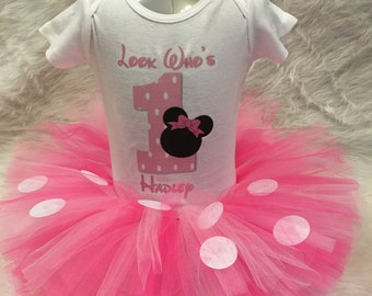Handmade baby girl 1st first 2nd second birthday Minnie Mouse tutu outfit pink