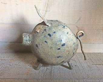 Vintage Spotted Pig Ornament, Tin Metal Pig Collectable