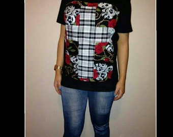 funkyrox handcrafted patchwork tee for women comes in size small only one made