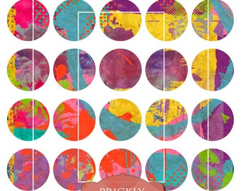 Mixed Media Clip Art, Digital Collage Sheet, 1.5 inch circles, Digital Downloads, Printables, Collage Art