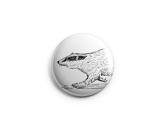 "Badger button -  1.25"" Pinback Button, Magnet, or Flair, stocking stuffers, animal button, badger badge, badger pin"