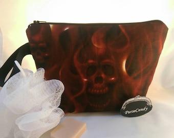SKULL FIRE - Deep red skull and fire wash-bag / make-up bag