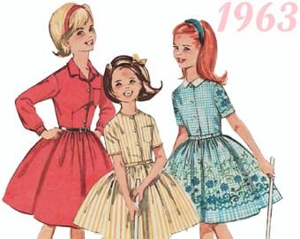 Girls Vintage Dress 1960s Girls Dress SIMPLICITY 5044 sz 7 60s Girls Pattern Girls Retro Dress Girls Party Dress Shirtwaist Dress