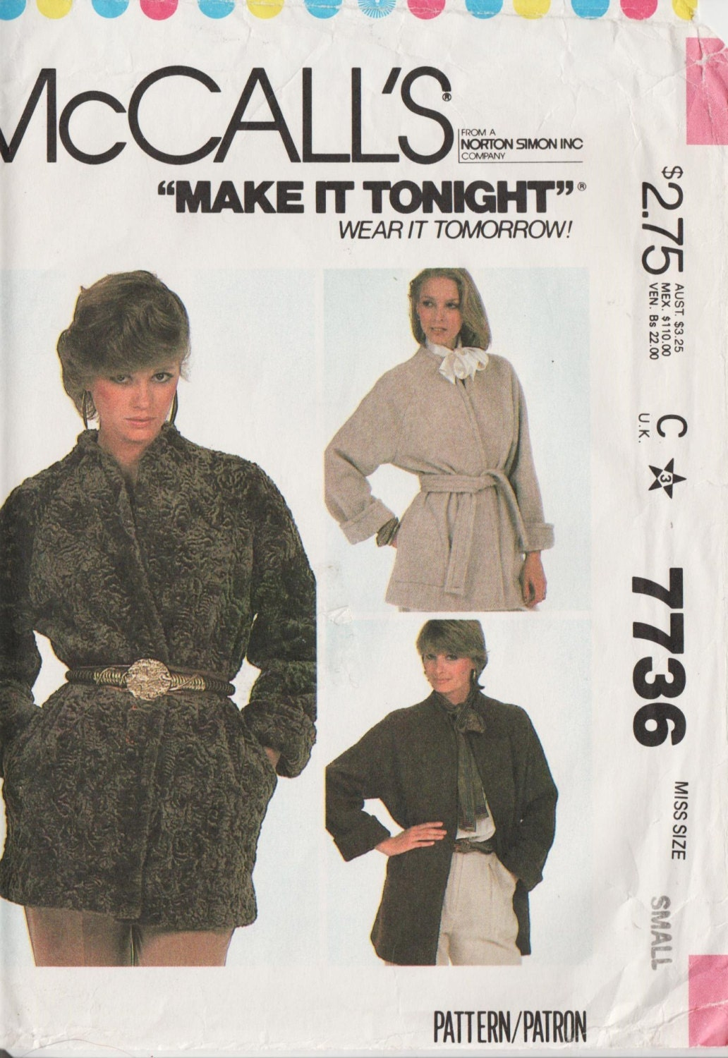 1980s jacket pattern - McCall's 7736