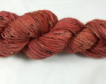 hand dyed sock yarn, donegal tweed sock, superwash merino and NEP, colorway GEORGIA