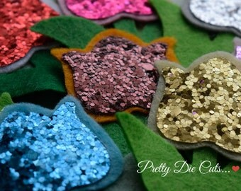 Felt and Glitter Fabric Tulips, Tulip Flowers, Die Cut Floral Craft Embellishments