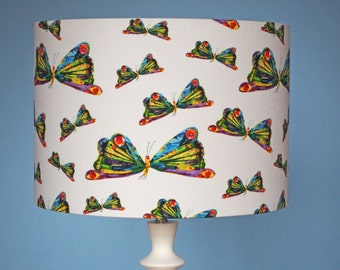 """Classic children's Eric Carle butterfly """"very hungry caterpillar"""" fabric lampshade - 30cm diameter shade"""