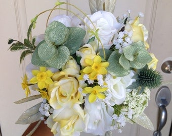 Yellow and white bride bouquet. Wedding bouquet.