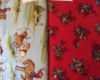 Cowboy Ride'em fabric - Robert Kaufman - Choice of Red or Light Blue - BTY or 1/2 yard