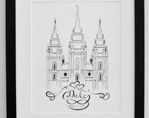 Personalized LDS Temple Original Pen and Ink Drawing- Framed- Salt Lake City Utah Temple