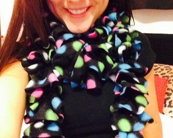 Black with multi color polka dots Fleece Ruffle Scarf