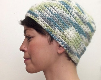 Adult Knit Hat (White, Green, Blue)