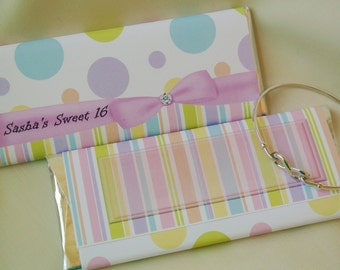 Sweet Sixteen Birthday party favors, personalized candy bar wrappers, party decorations, girls birthday favours, sweet 16 invitation