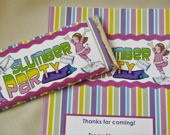 Sleepover party favors, pajama party invitation, personalized candy bar wrappers, sleepover birthday favours, slumber party invitation
