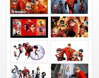 8 Disney The Incredibles Stickers, Birthday Party Favors, Labels