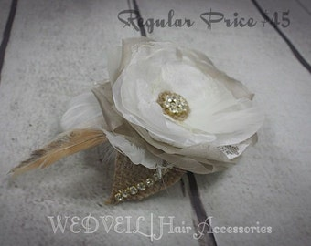 Flower Hair Clip for Wedding, with Crystals