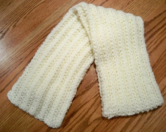 Brand New Linen Colored Hand Knit Scarf
