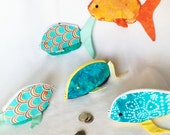 Fish Shaped Small Zipper Pouches, Knitting/Crochet Project Accessory Pouch, Ear Bud Pouch, Coin Purse, Child's Little Toys Bags