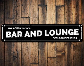 Bar & Lounge Sign, Personalized Welcome Friends Sign, Family Name Sign, Custom Metal Bar Decor, Beer Sign - Quality Aluminum ENS1001375