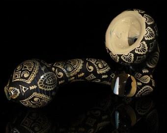 Hand Carved Sherlock w/ Encased tumbled Opal.