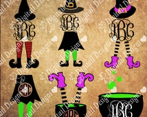 Witch Monogram Frames SVG - Dxf - Png - Eps - Fcm - Ai Witch Monogram Frames - Witch Hat - Witch Legs - Cauldron - Halloween Clipart