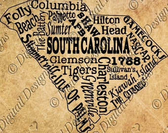South Carolina State SVG Wordart Subway Art Png, Dxf, Eps Cut File for Silhouette Cricut SCAL