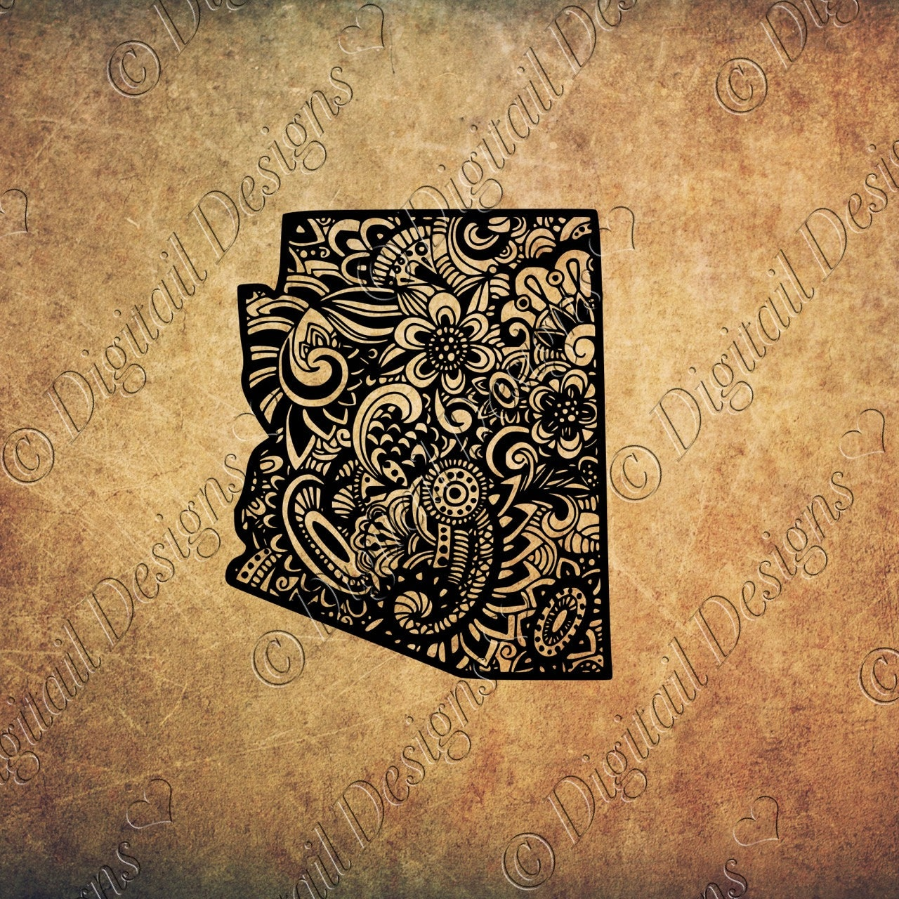 arizona state svg doodle art decal zentangle by digitaildesigns. Black Bedroom Furniture Sets. Home Design Ideas