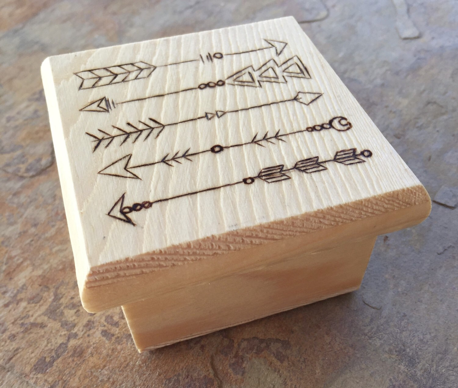 Wooden Box Jewelry Box Wedding Favors Wood Burn By TumblingMeadow
