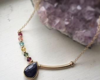 Sapphire necklace, sapphire pendant necklace, sapphire and tourmaline necklace, bezel sapphire, September birthstone, asymmetrical n