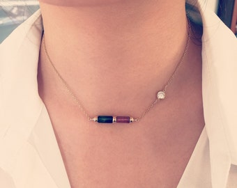 Tourmaline necklace, pink and green tourmaline with CZ in gold filled bezel, october birthstone, birthstone necklace
