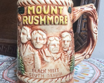 Vintage 1970's Mount Rushmore Black Hills South Dakota Raised 3D Scenic Ceramic  Souvenir Mug