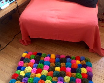 SALE! Pom Pom Rug - Granny Chic, Child's Bedroom, Home Decor