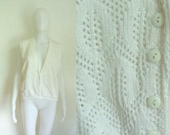 35%offJuly17-20 70s sweater vest size medium / large, off white, eyelet vest, 1970s, knit vest womens waist coat, geometric acrylic, retro