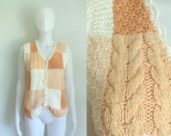 40%offAug18-21 80s sweater vest size small / medium, pink orange, cable knit patchwork knit cotton 1980s button down womens vest waistcoat