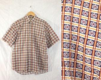 mens retro print shirt size medium, 80s shirt, mens button down shirt, short sleeve, geometric, cotton shirt, 1980s