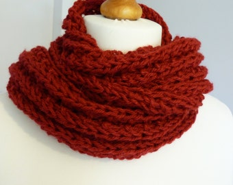 Scarlet hand knitted aran weight fringed scarf