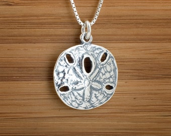 Sand Dollar Pendant - STERLING SILVER- Chain Optional