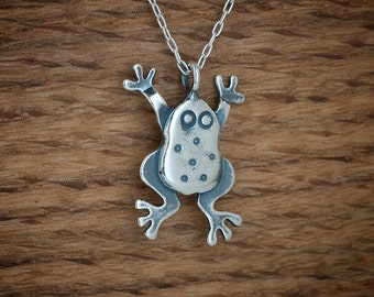 Frog Pendant - STERLING SILVER- Chain Optional