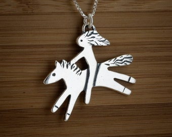 STERLING SILVER Pony Horse and Rider Wild and Free Pendant  My ORIGINAL -  Chain Optional