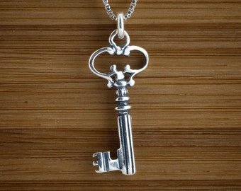 Vintage Style Skeleton Key Charm or Earrings - STERLING SILVER- Chain Optional