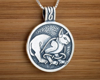 Celtic Cat Pendant Necklace My ORIGINAL- STERLING SILVER-  Chain Optional