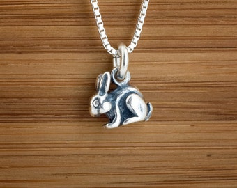 Rabbit, Bunny Charm or Earrings - STERLING SILVER- Chain Optional