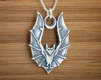 Bat in Flight with Crescent Moon Pendant or Earrings - STERLING SILVER- Chain Optional