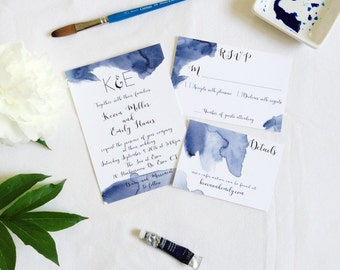 Blue watercolor waves printable wedding invitation suite, custom, DIY wedding template