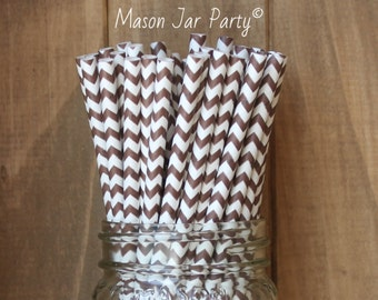 Brown Paper Straws, 25 Brown Chevron Straws, Cake Pop Sticks, Wedding, Baby Shower, Party Supplies, Made in USA, Table Setting, Tableware