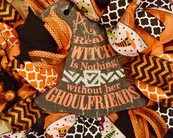 Orange and Black Burlap and Jute Mesh Wreath with Witch Hat; Halloween Mesh Wreath; Quality Fall Wreath Door Decor Halloween Ghoulfriends