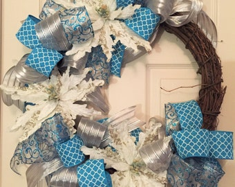 Turquoise Silver and White Poinsettia Grapevine Wreath; Winter Wreath; Christmas Wreath; Front Door Wreath; Holiday Wreath Decor