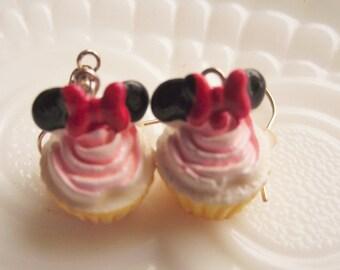 Mouse CUPCAKE Earrings,Kid's EARRINGS,Novelty Earrings,MouseEars Cupcake Earrings,NOVELTY Cupcake Dessert Sweets Earrings,Kawaii Jewelry